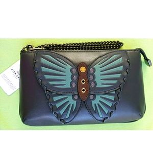 COACH LARGE WRISTLET  BUTTERFLY MIDNIGHT LEATHER